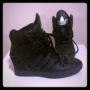 Adidas heeled trainers. Black animal print